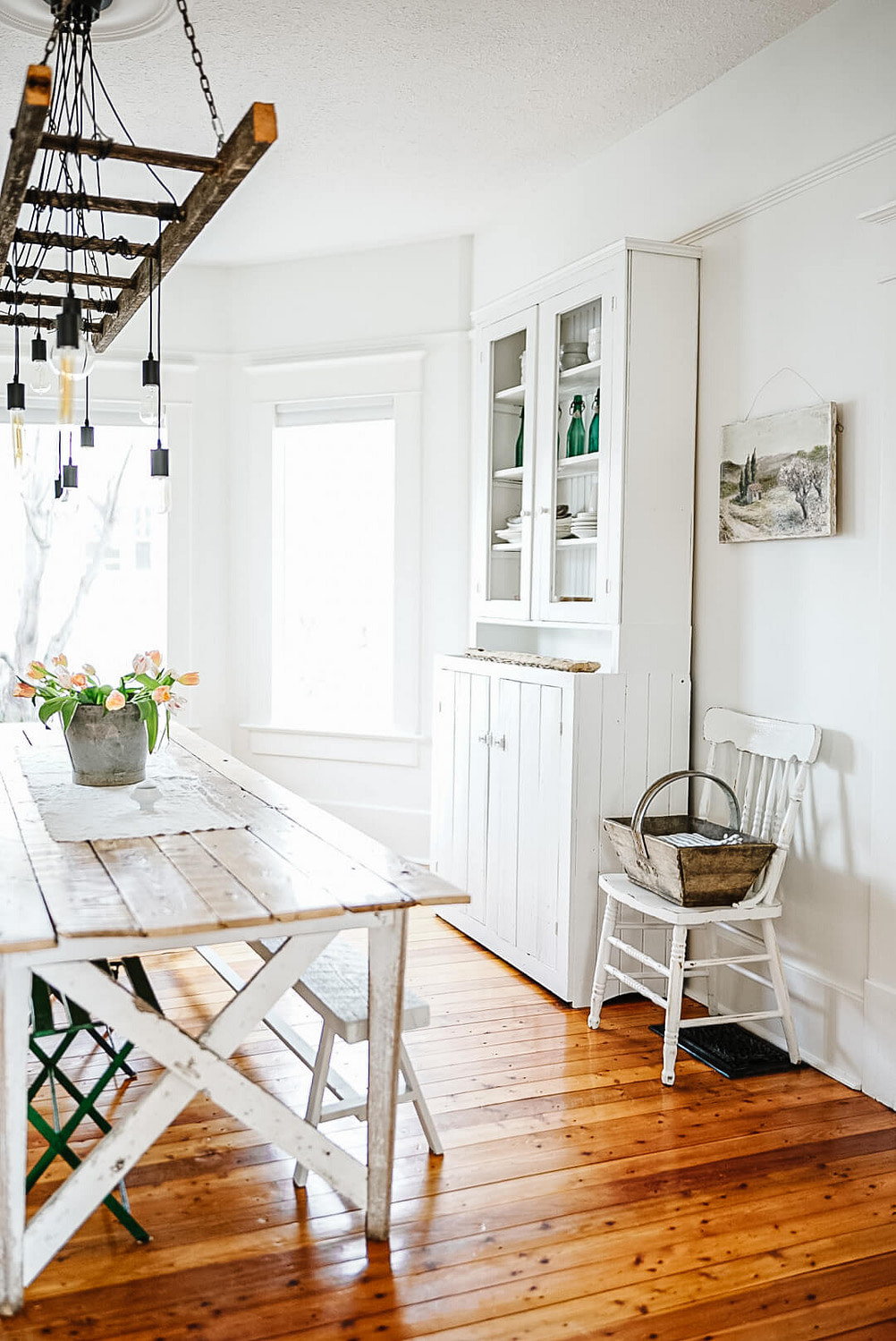 Simple White DIY Kitchen Hutch in French Country Kitchen