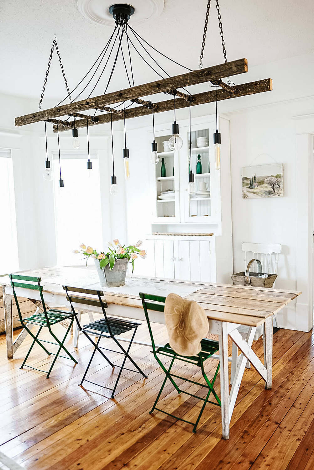 French country kitchen with DIY Edson bulb ladder chandelier