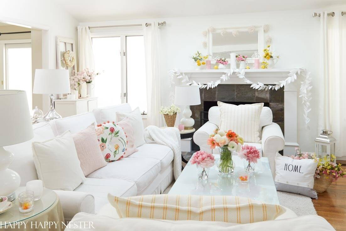 bright family room with pastel colour pallet for a happy home
