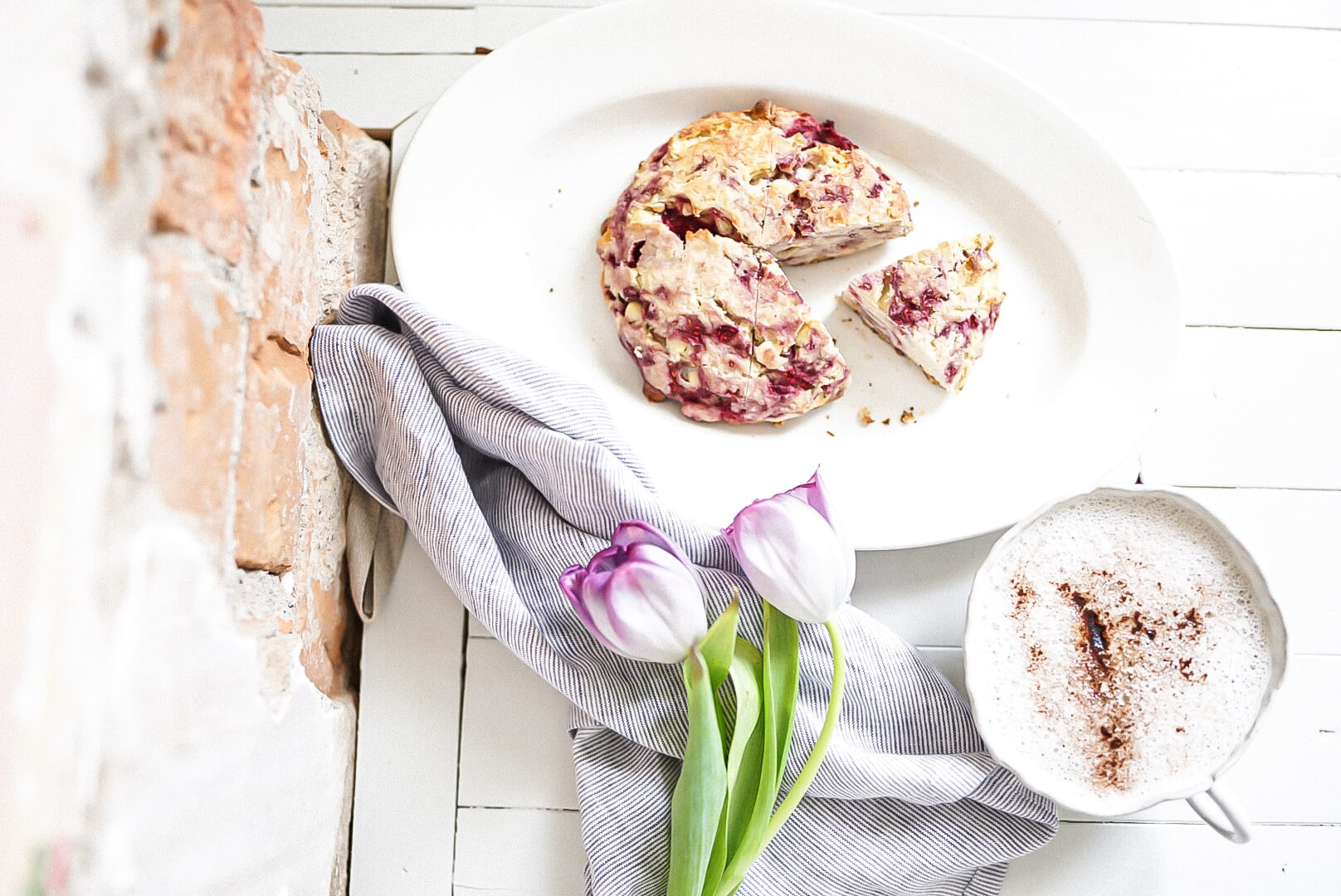 Scone Flavours brick wall and shiplap