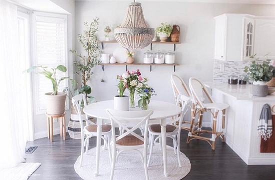 dinning room round farmhouse table bright kitchen