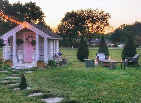 simple cozy home she shed at sunset