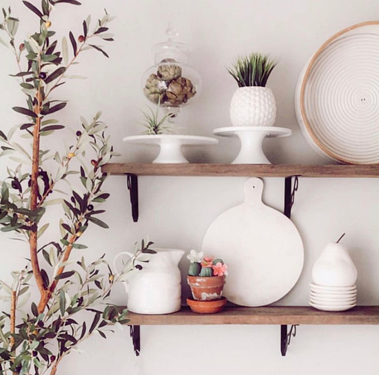 simple cozy home decor styled shelves