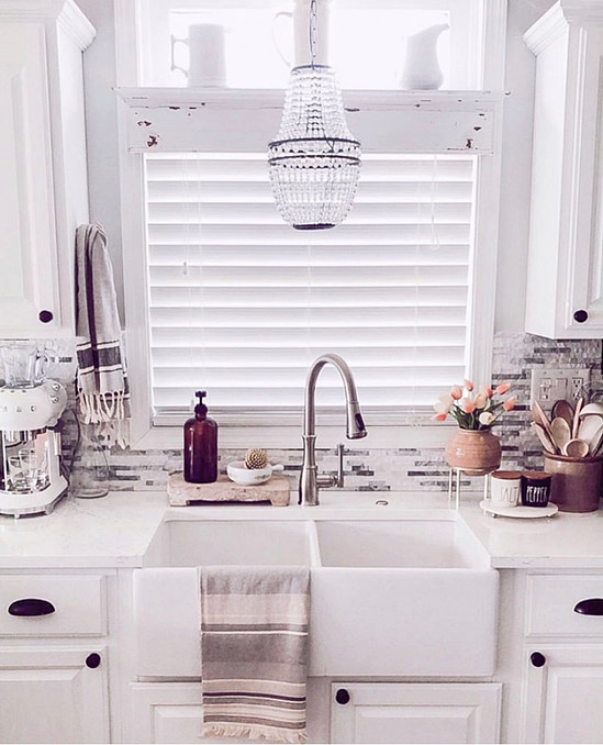 farmhouse kitchen sink chandelier white kitchen