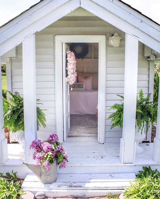 simple cozy charm she shed front step open door charming decor