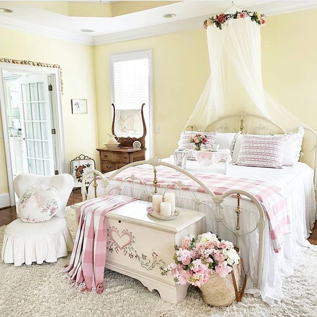 eclectic bedroom decor yellow walls pink bedding farmhouse master bedroom