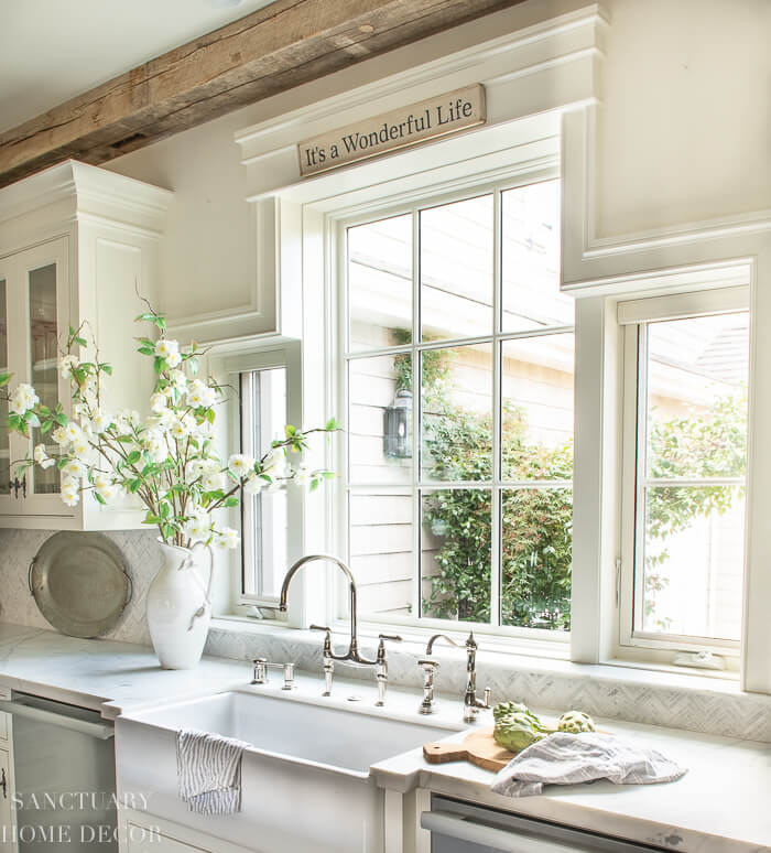 Rustic Farmhouse Kitchen sink with large open window