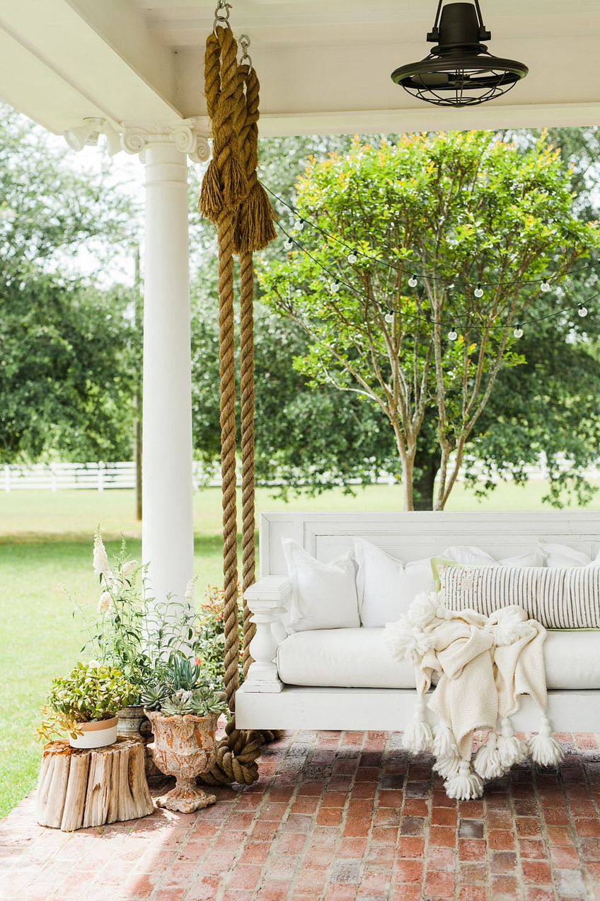 Ivory home design white porch swing